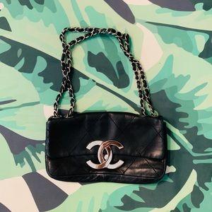 CHANEL Lambskin Leather Cc Flap Shoulder Bag